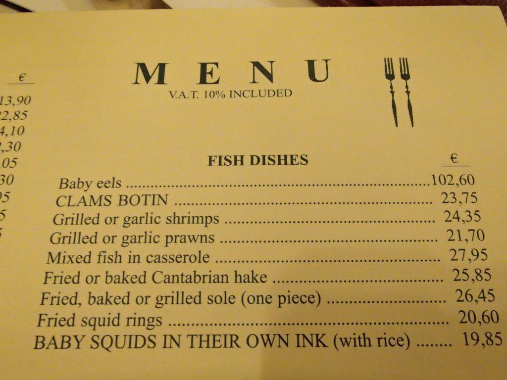 Botin menu