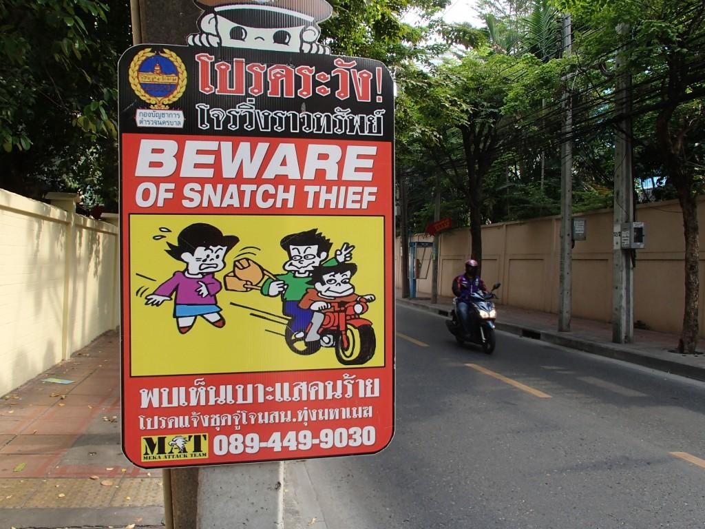Tourist awareness sign in Bangkok